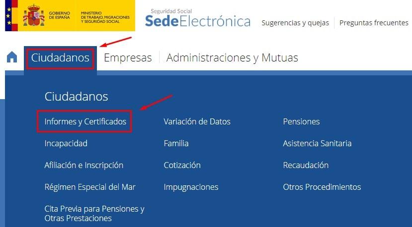 Sede electrónica de seguridad social