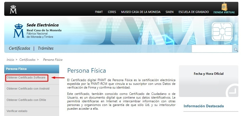 Certificado Software para pedir vida laboral con certificado